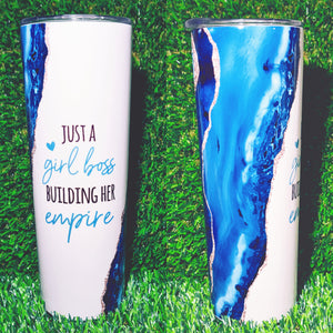 Blue/Gold Glitter Agate Insulated Tumbler