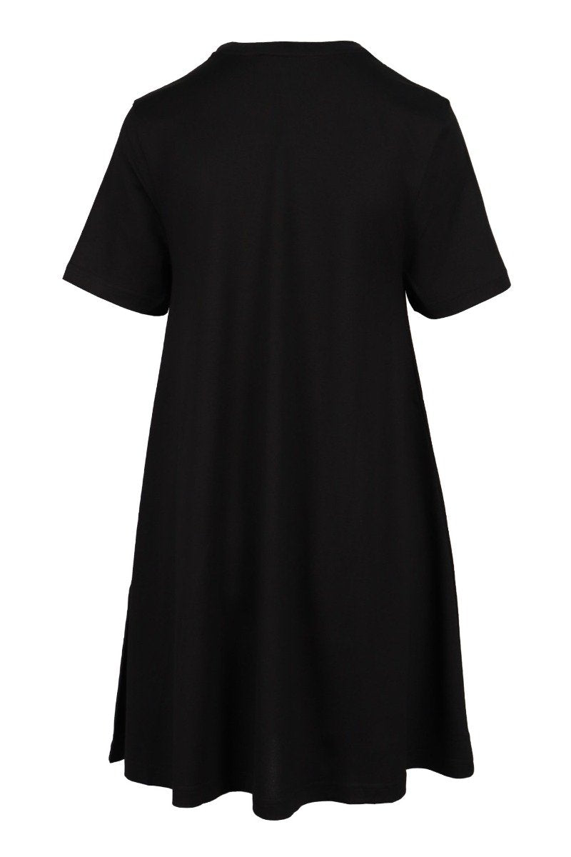 Embellished Swallow Dress Cotton Crew Neck Short Sleeves Casual Midi Dress