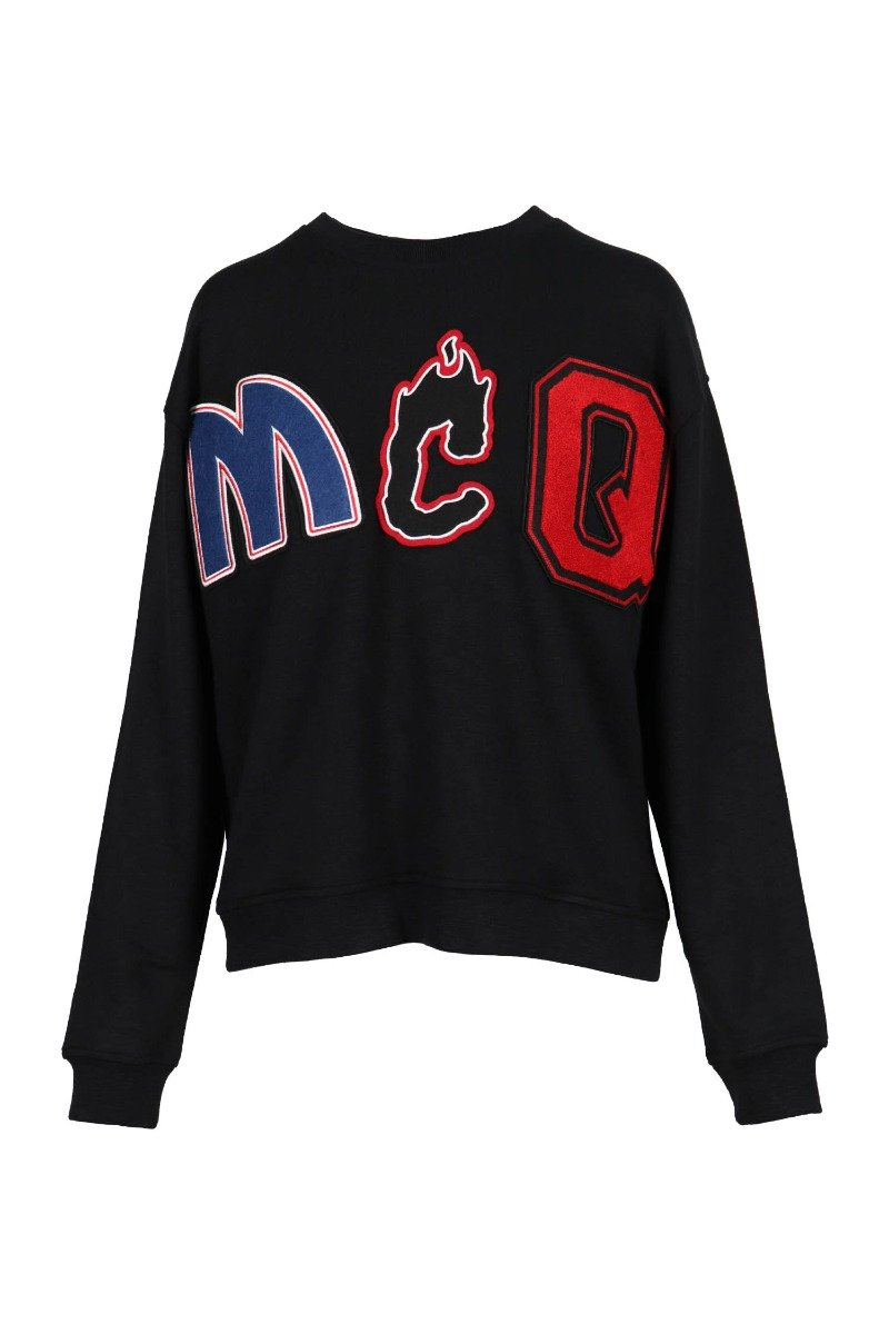 Mcq Patch Sweatshirt Women Fashion Synthetic-Fiber-Blend Long-Sleeve Casual Hipster Outwear