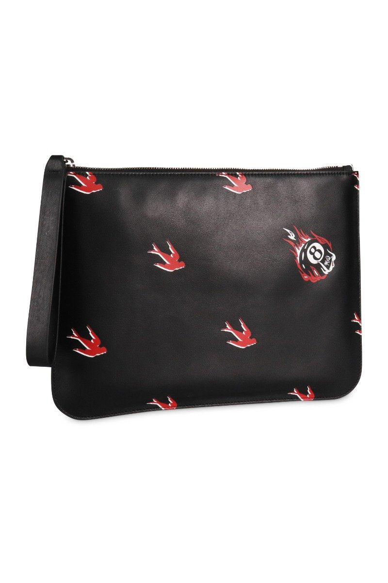 Deco Swallow Pouch Calf Leather Women Men Unisex Bags Pouch Fashion