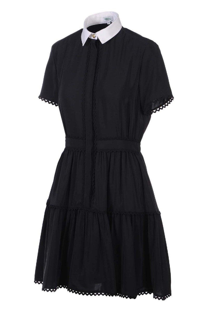 A Line Shirt Dress Kenzo Designer Black dress Collar dress button work dinner dress