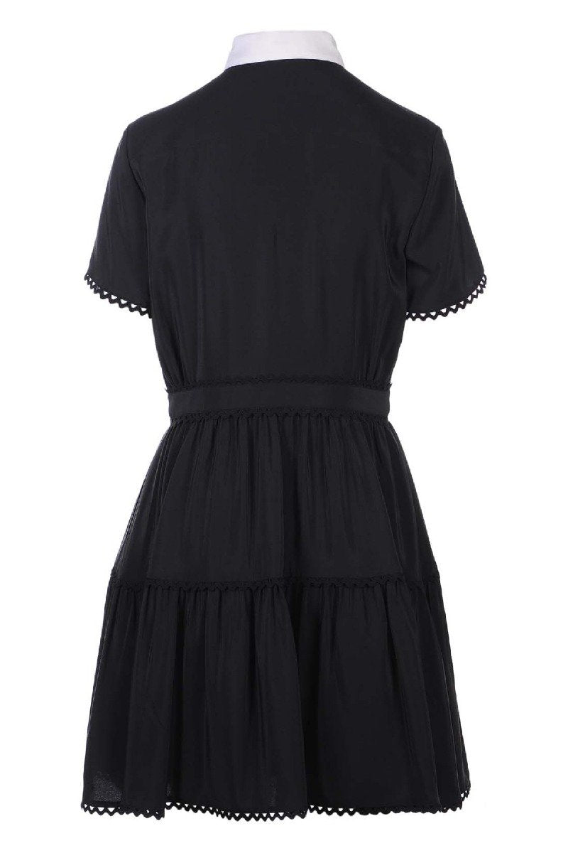 A Line Shirt Dress Kenzo Designer Black dress Collar Hidden button Work Dinner dress Party dress