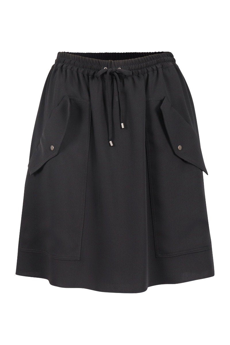 Kenzo Soft Crepe Skirt Women Fashion Polyester Lightweight Elastic-Waist Casual Trendy