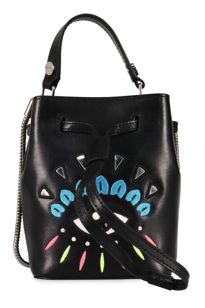 Eye Bucket Bag Kenzo Paris Black Embroidery Fashion Calf Leather