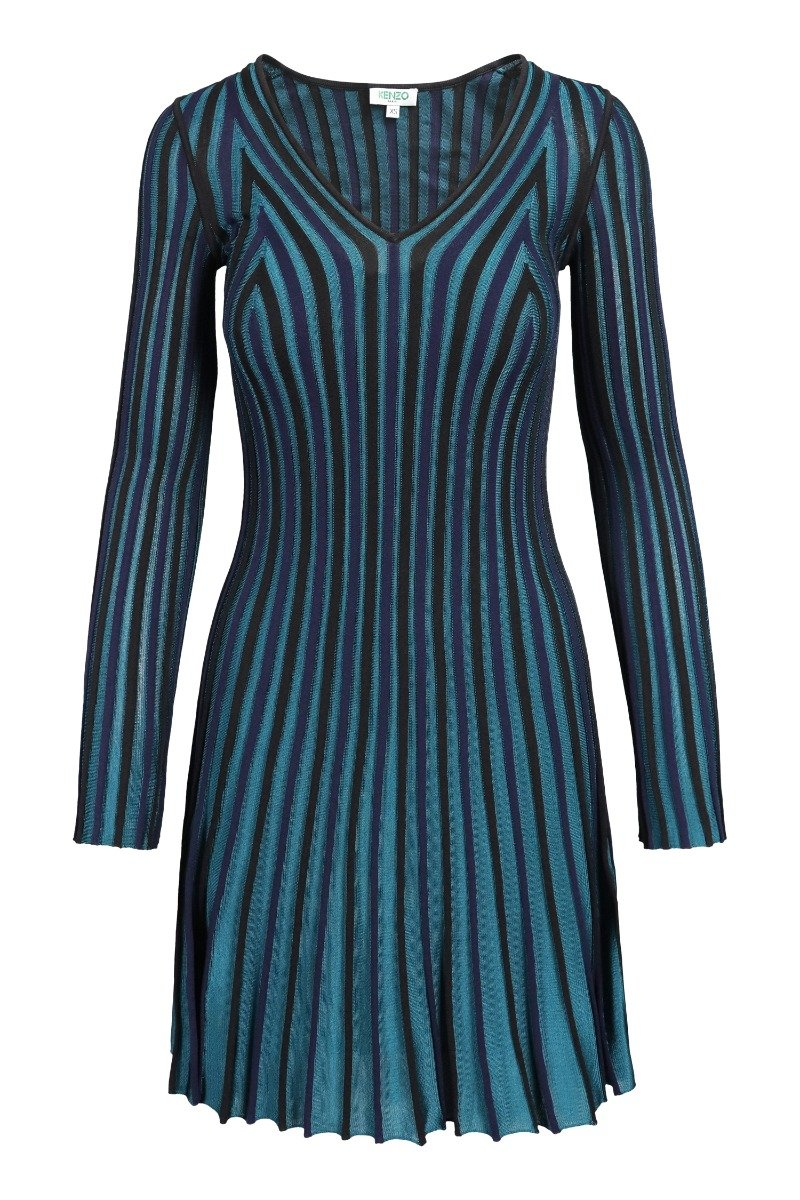 Pleated Knit Dress Women Fashion Kenzo Paris Viscose Blend Long Sleeve Onepiece Classic