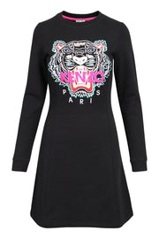 Tiger Sweat Dress Women Fashion Kenzo Paris Cotton Long Sleeve One Piece