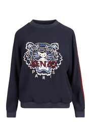Tiger Crepe Top Women Fashion Kenzo Paris Triacetate Blend Long Sleeve Casual