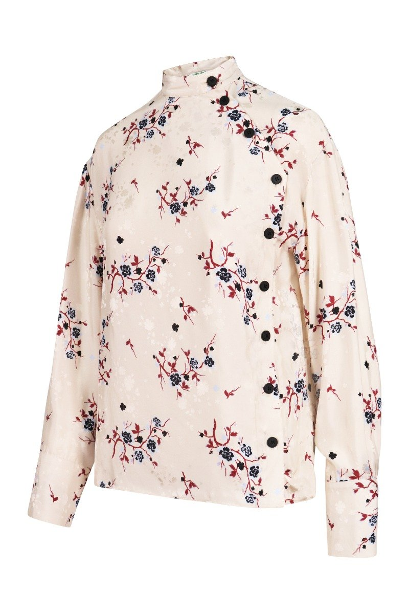 Cheongsam Flower Blouse Collar Long Sleeves Women Elegant Top Fashion