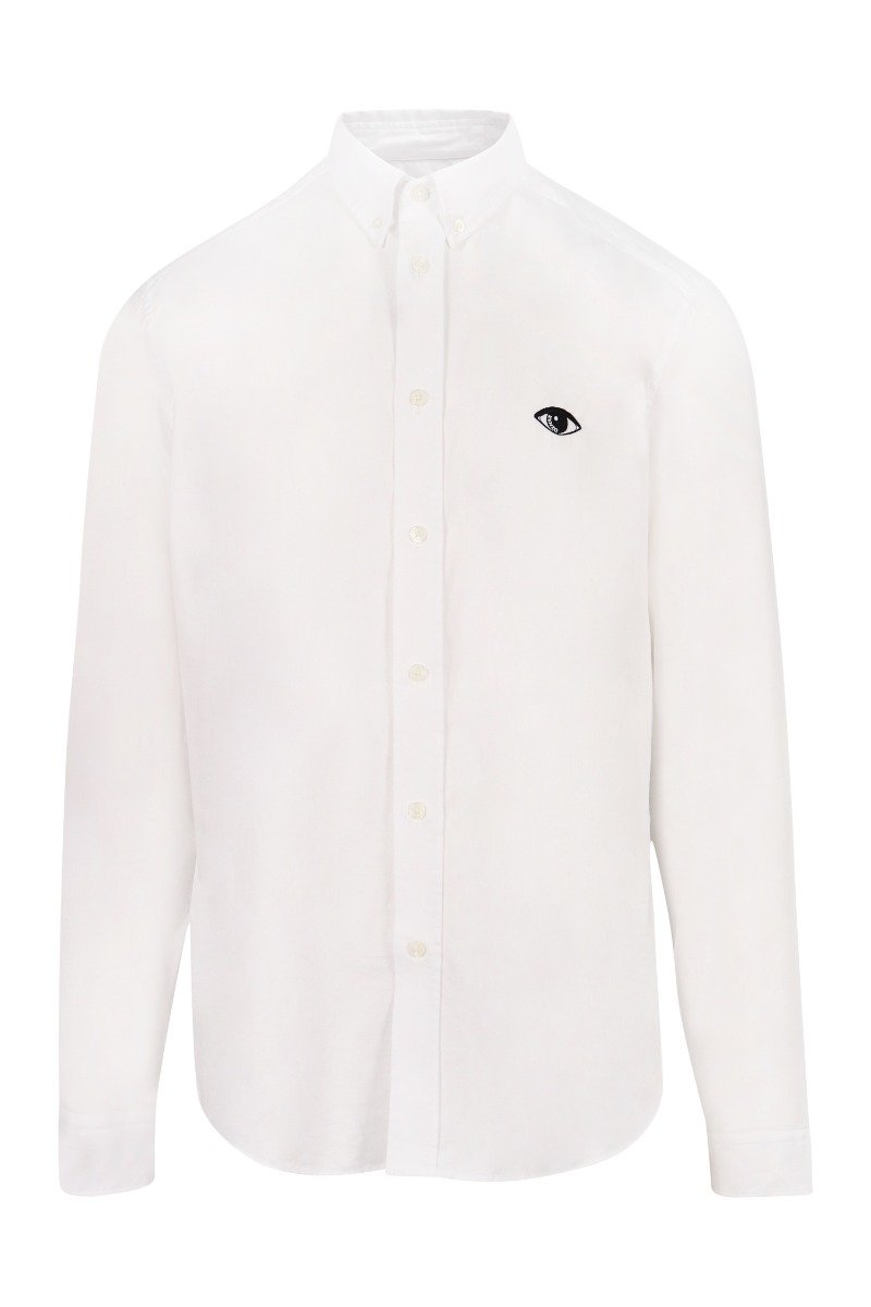 Eye Oxford Shirt Kenzo Paris Smart Casual Formal White Embroidery