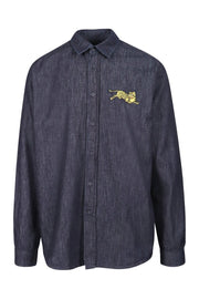 Jumping Tiger Denim Shirt Kenzo Embroidered Long Sleeve