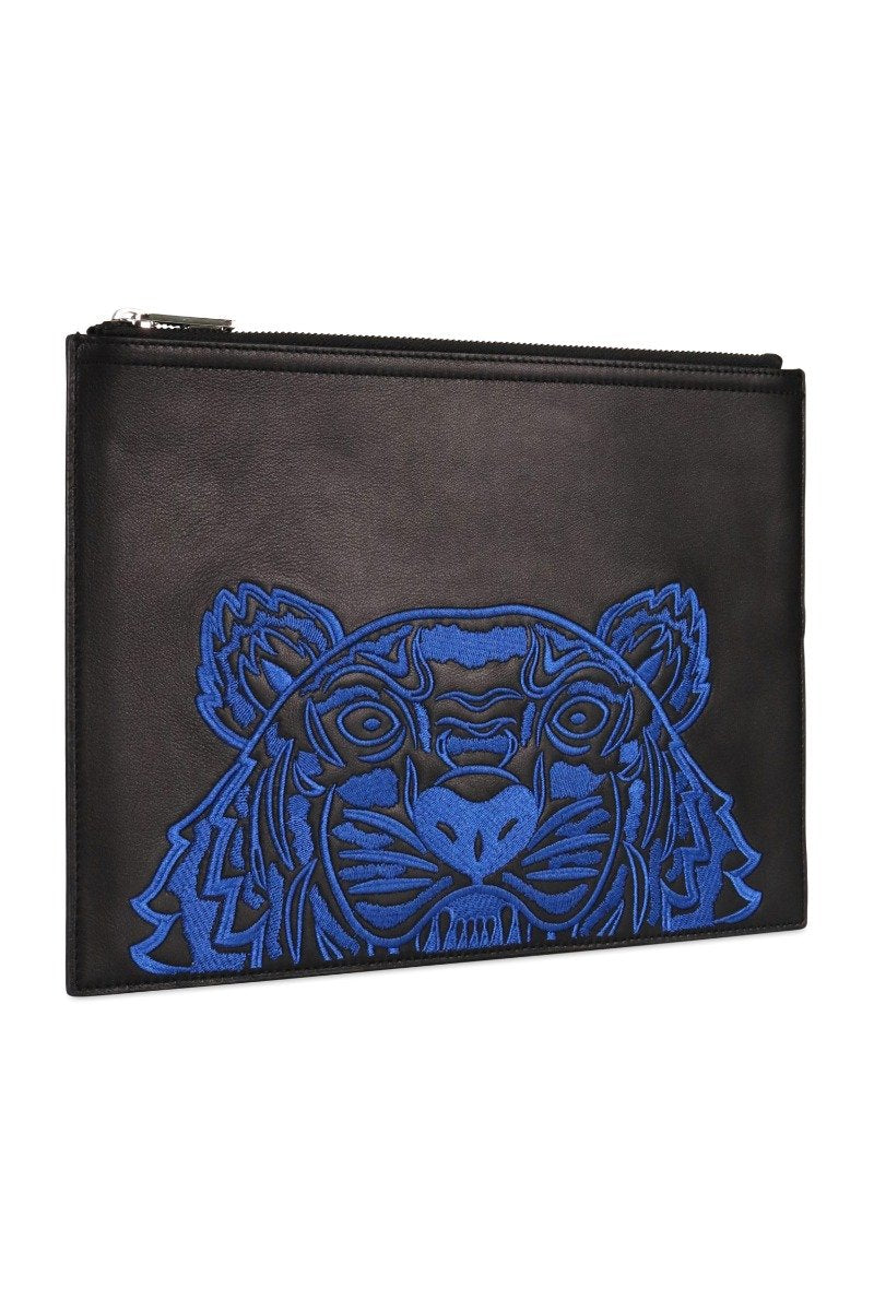 A4 Tiger Clutch Blue Embroidery Logo Designer Fashion Unisex Men Women Logo Kenzo Paris
