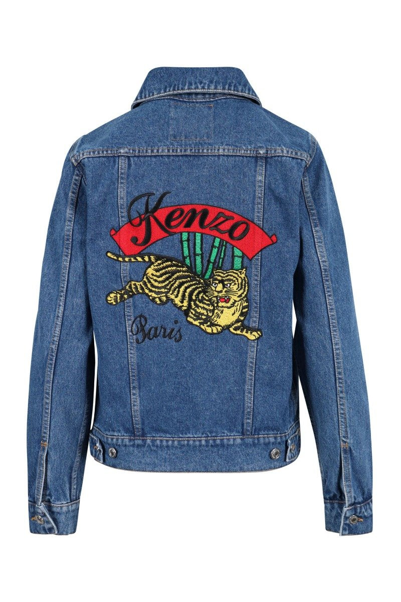 Jumping Tiger Jacket Kenzo Embroidered Denim Button
