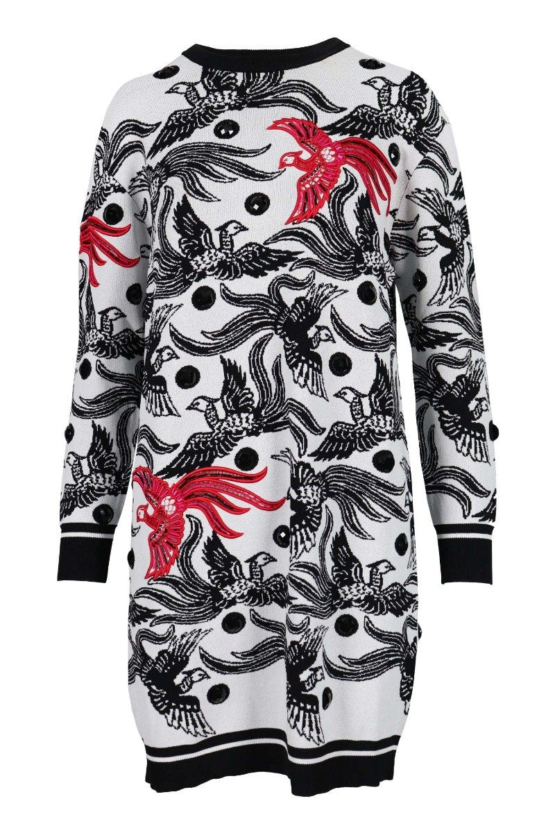 Flying Phoenix Jumper Dress Kenzo Paris Long Sleeves Dress Fashion Designer