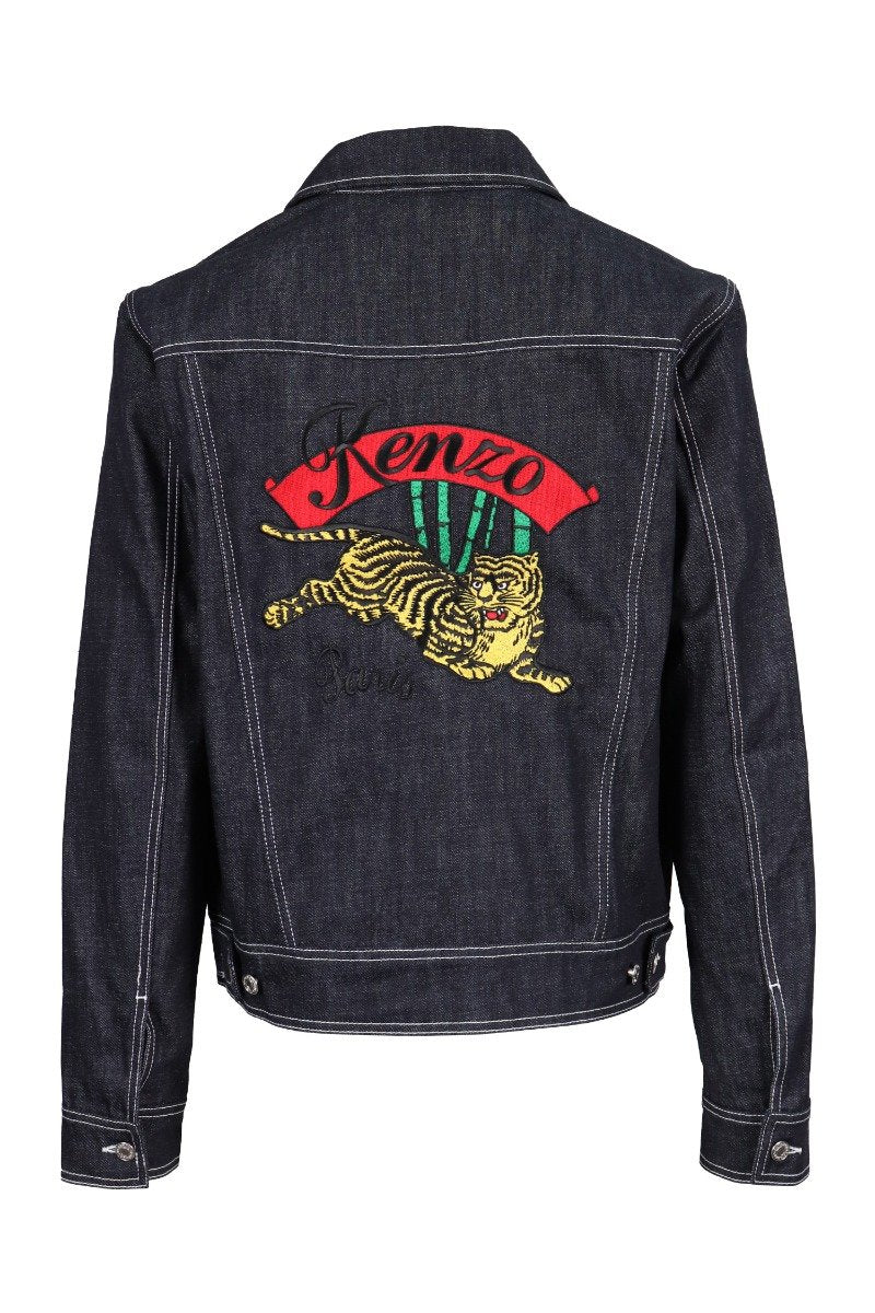 Bamboo Tiger Denim Jacket Embroidery Kenzo Paris Denim Unisex Men Women