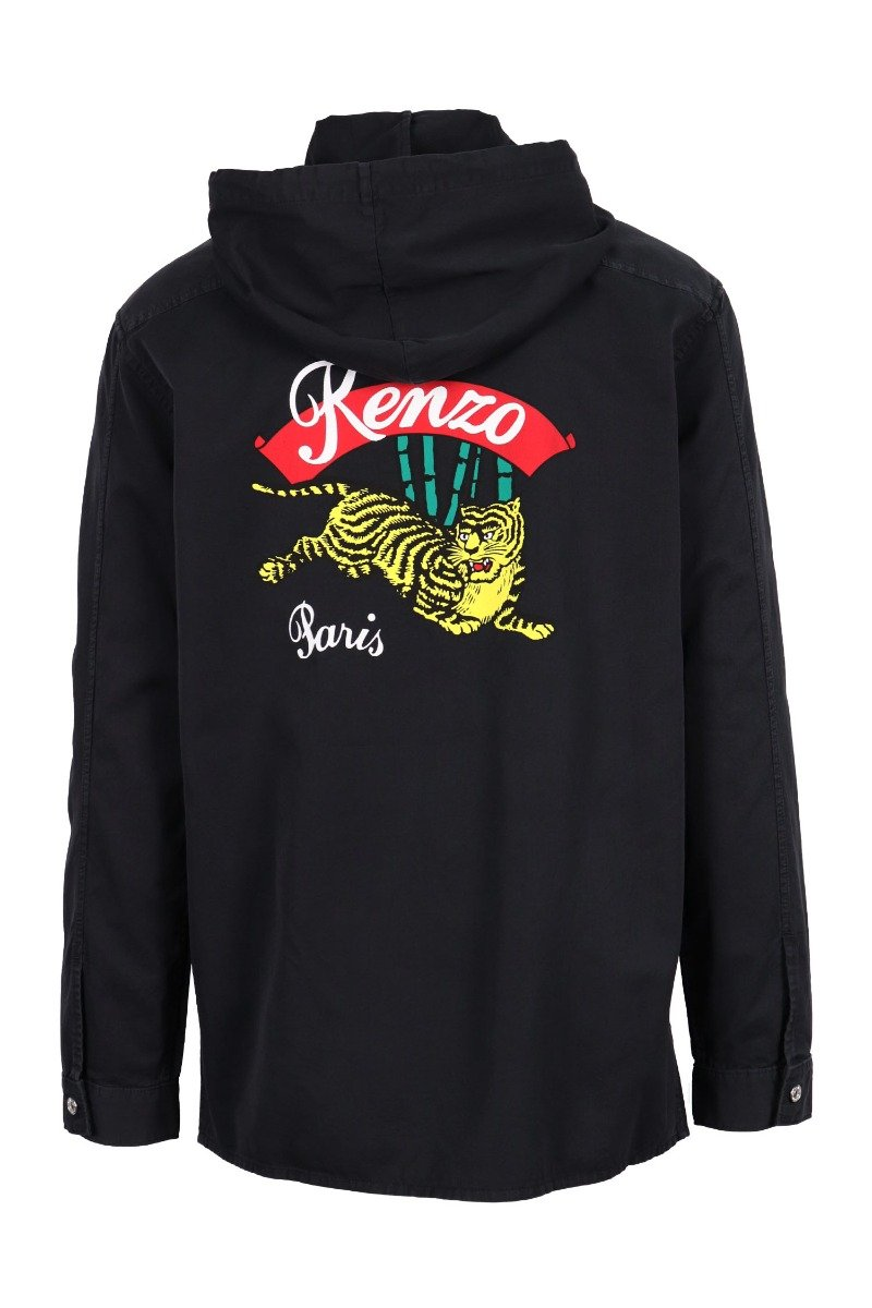 Bamboo Tiger Jacket Casual Basic Black Button Logo Pattern Kenzo Paris