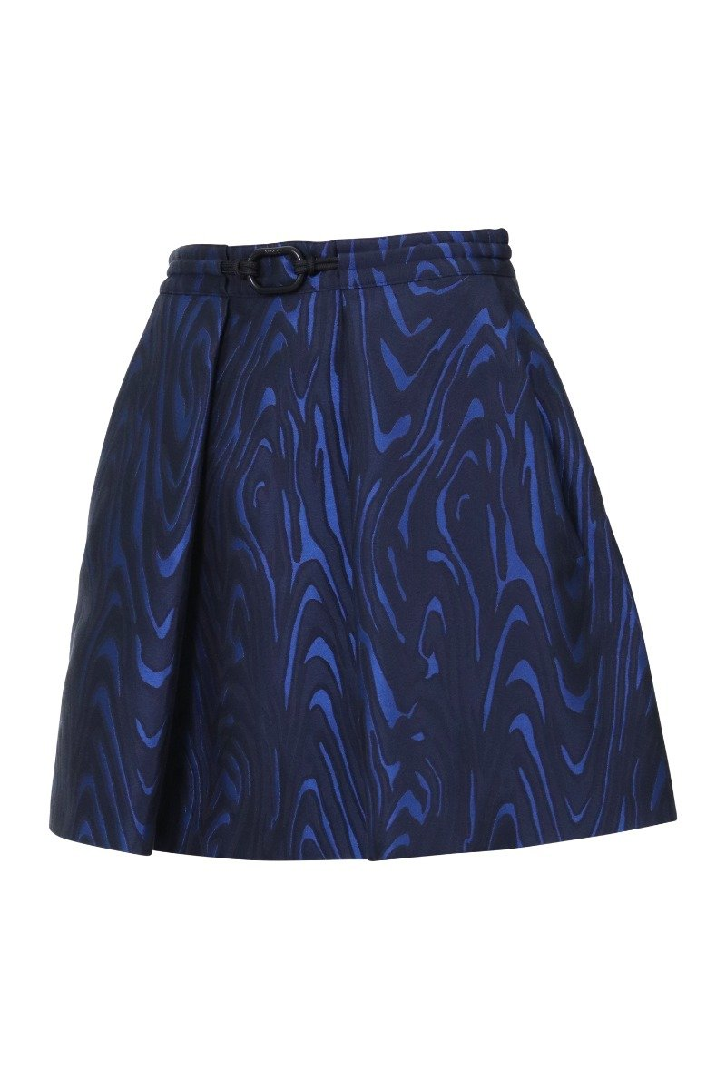 Moire Tiger Jacquard Skirt Women Fashion Kenzo Paris Polyester-Blend Pleated Short Dark