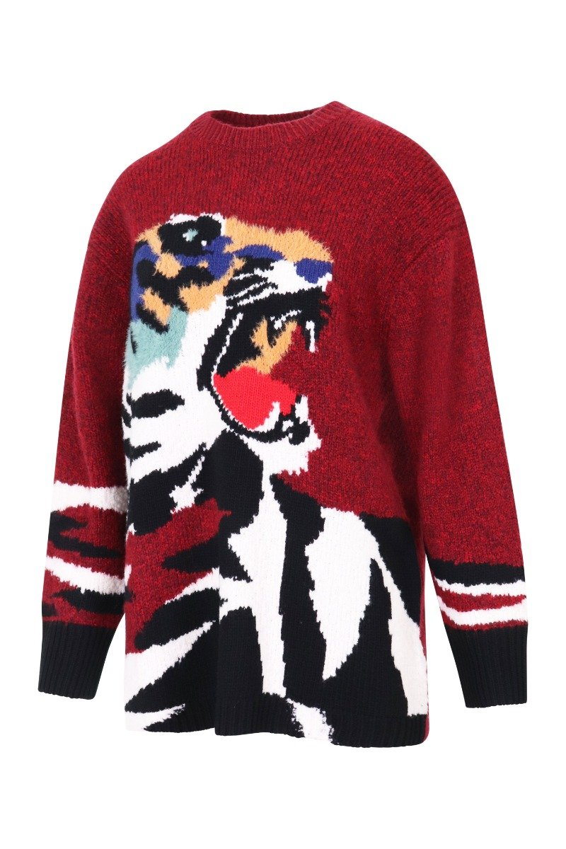 Tiger Head Sweater Women Fashion Kenzo Paris Polyamide Blend Long Sleeve Casual Stylish