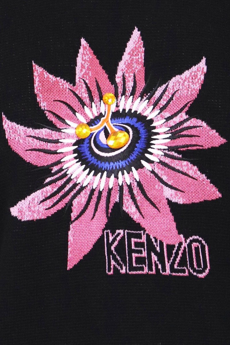 Passion Flower Sweater Women Fashion Kenzo Paris Wool-Blend Long Sleeve Casual Top