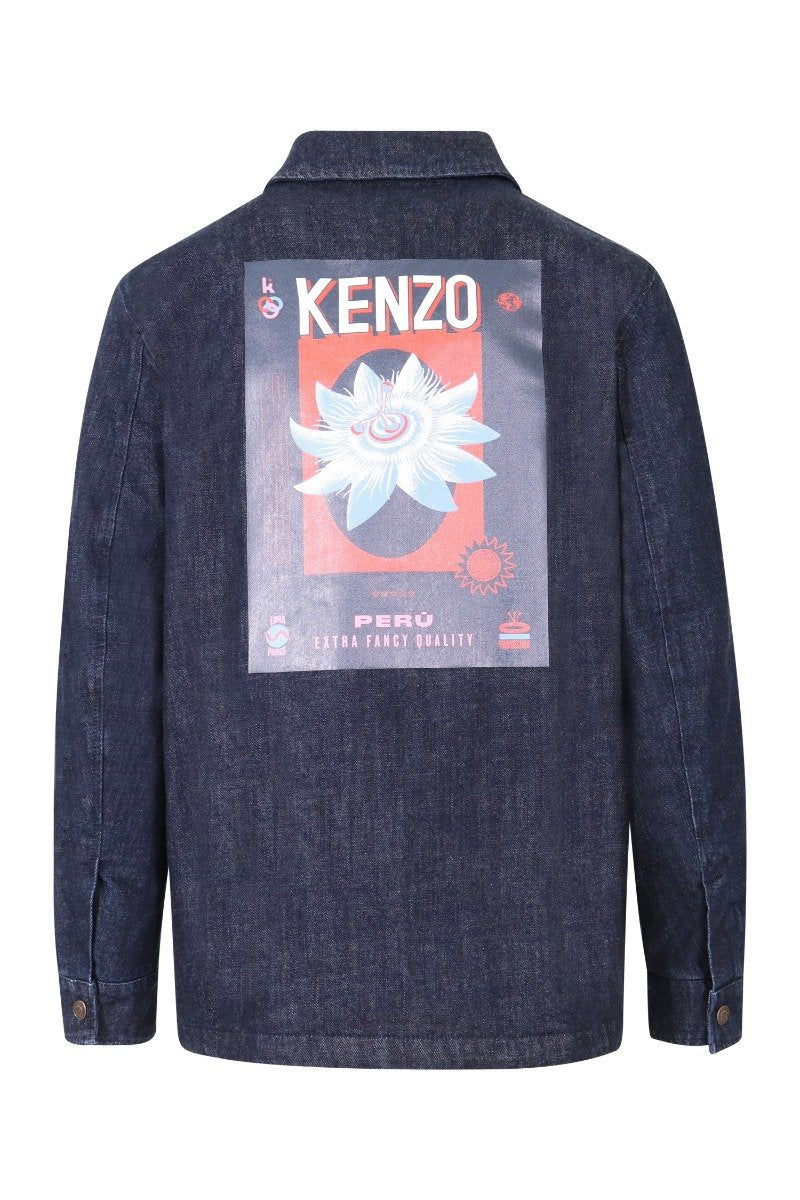 Passion Flower Denim Jacket Men Fashion Kenzo Paris Long-Sleeve Cotton Outwear Classic