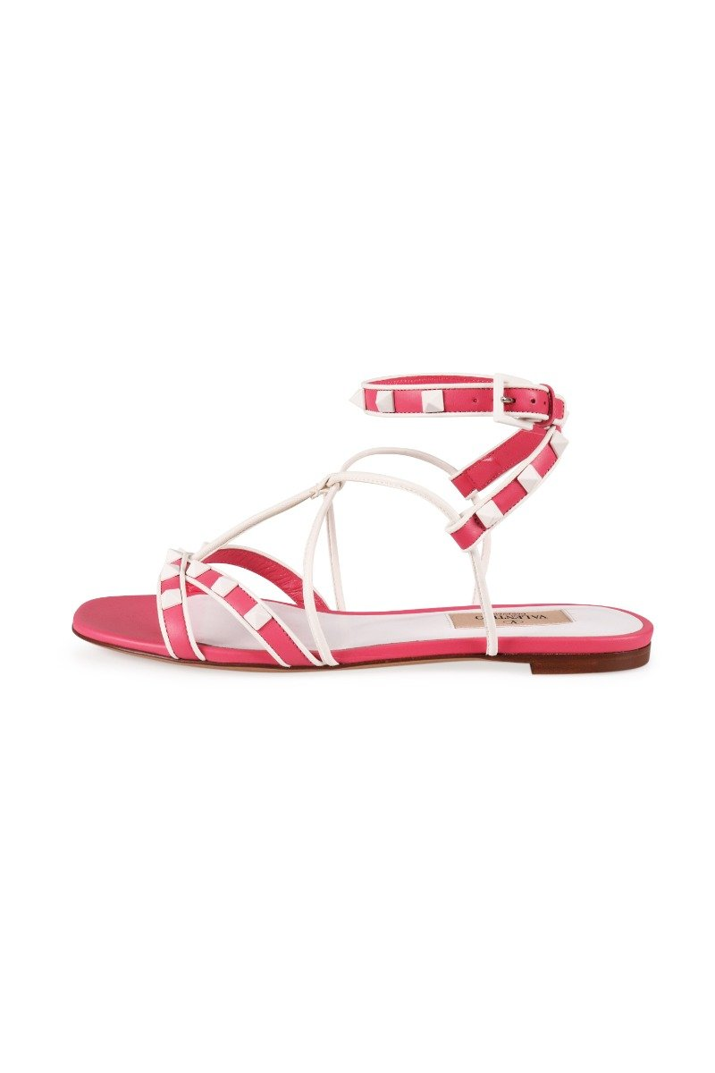 Free Rockstud Flat Sandal Valentino Leather Women Sandals Casual