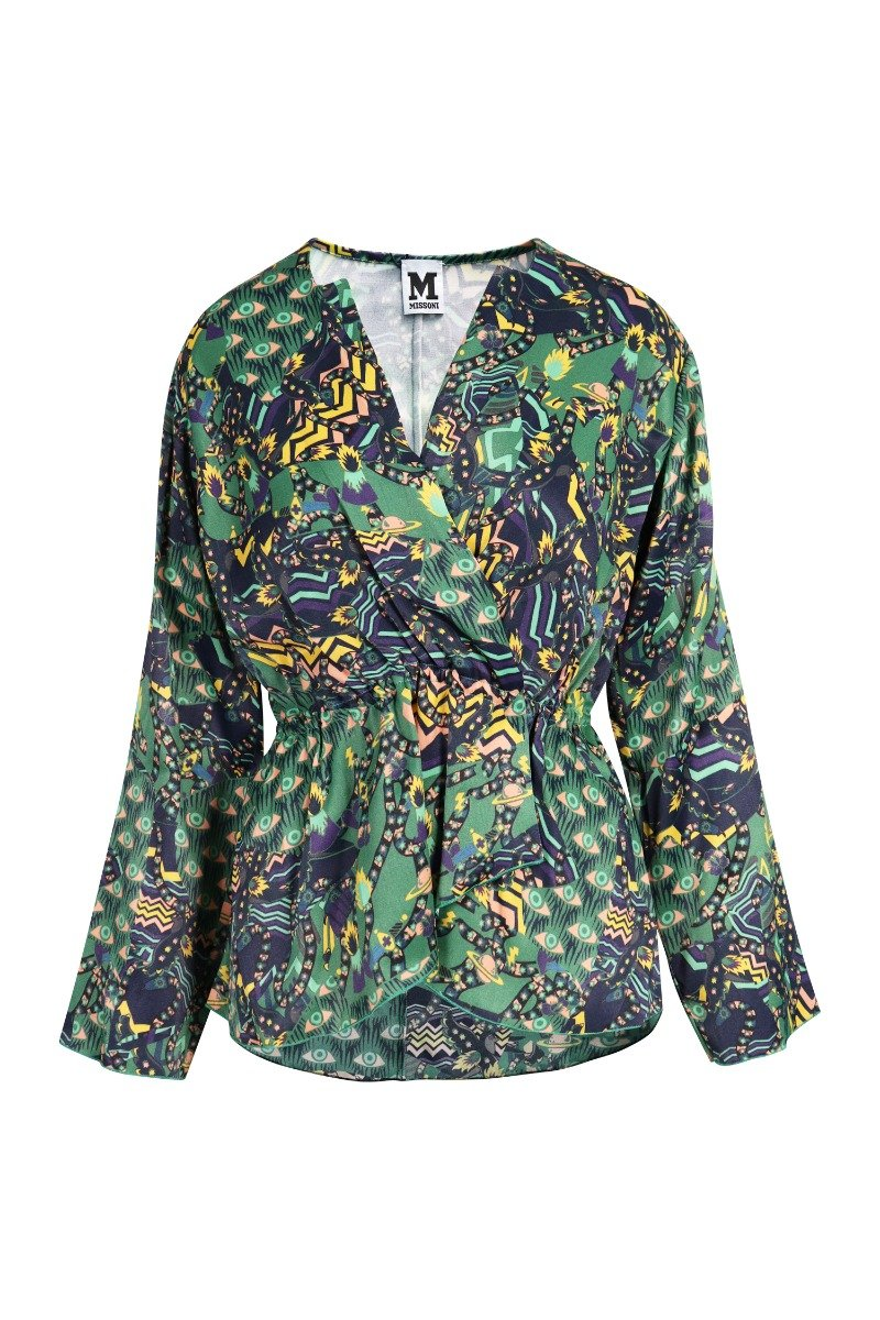 Evil Eyes Blouse V Neck Ladies Women Long Sleeves Floral Prints Pattern