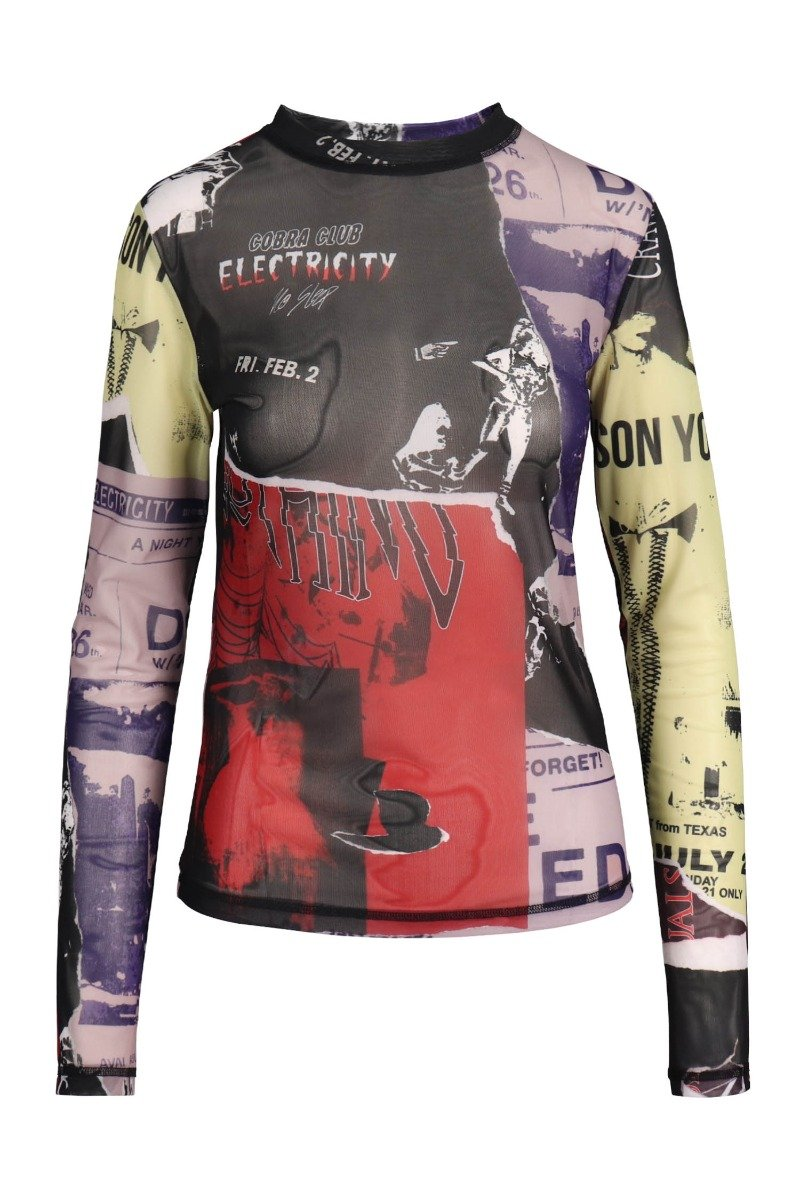 Punk Patchwork Top Women Fashion MCQ Polyester Long-sleeve Stretchable Semi-Transparent Stylish