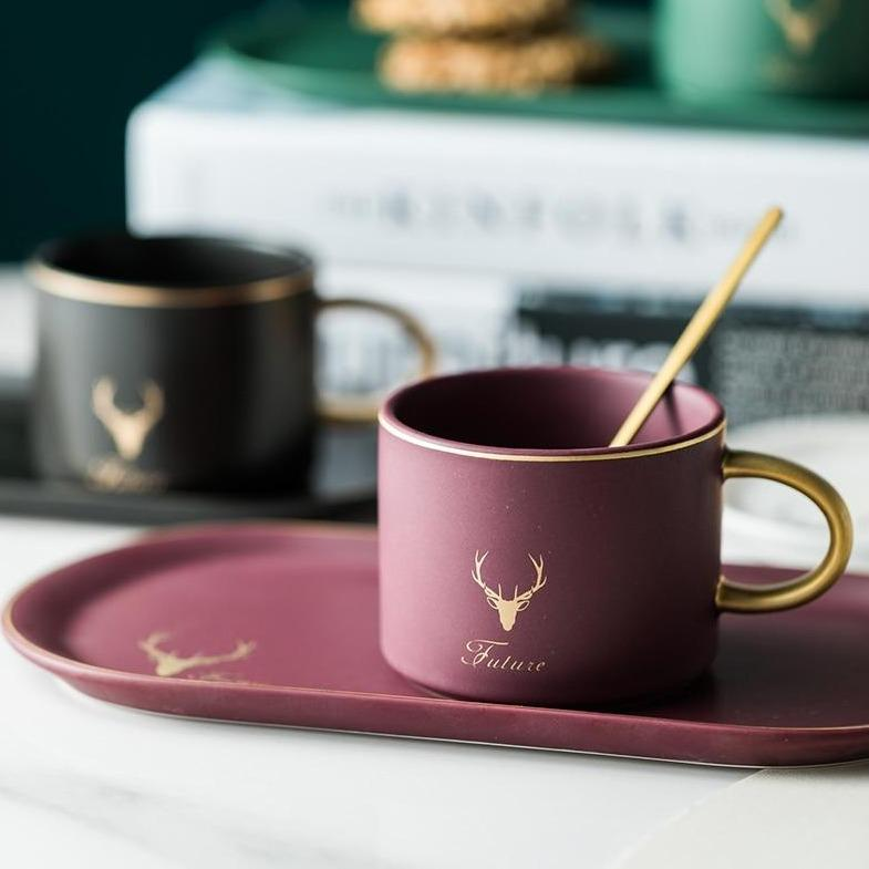 Ceramic Coffee Cup with Saucer and Spoon
