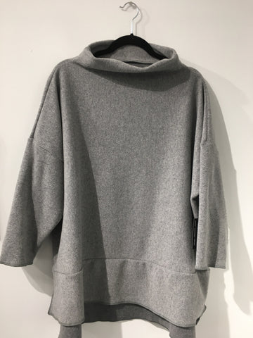 W- Grey Reversible Wool Poncho