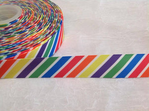 "Diagonal Rainbow 7/8"" Ribbon"