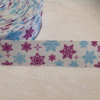 "Snowflake Purple & Blue 1"" Ribbon"