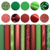 Red & Green Solid Mixed Faux Leather Full Sheet Pack of 10