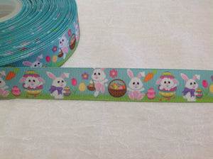 "Easter Bunnies on Blue 7/8"" Ribbon"