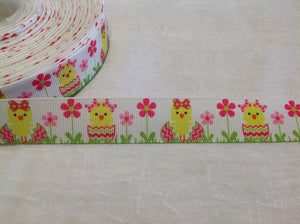 "Easter Chicks with Bows 7/8"" Ribbon"