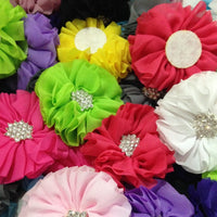 Chiffon Flower with Rhinestone 6cm