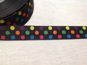"Spots on Black 7/8"" Ribbon"