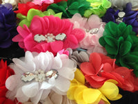 Long Chiffon Flower with Pearl and Rhinestone 12cm