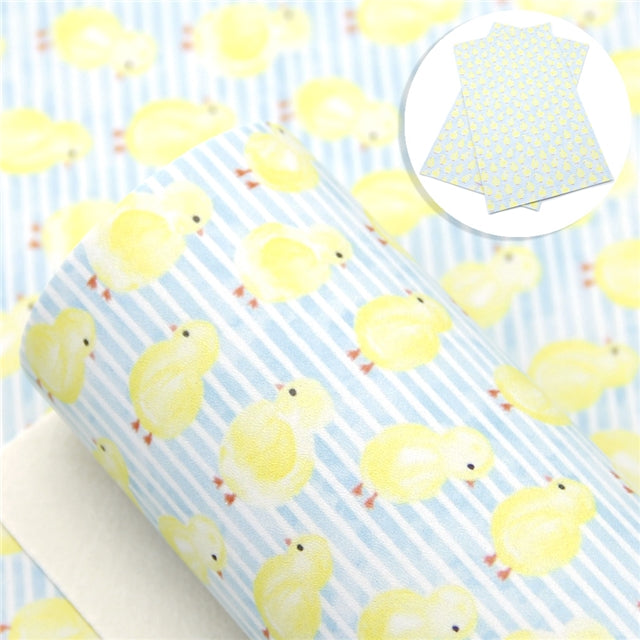 Little Chick on Pale Blue/White Faux Leather Sheet