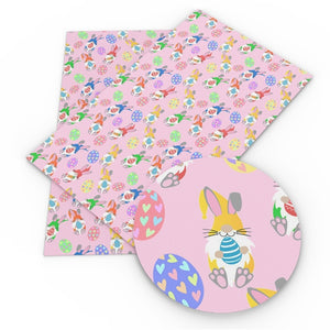 Easter Rabbit & Eggs on Pink Faux Leather Sheet