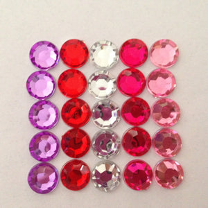 10mm Rhinestone Flatback Bling- Red, Pink, Clear, Purple