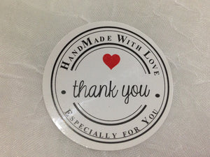 Sticker- Handmade with Love ❤️ Thank You (60, Circle White)