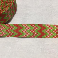 "Christmas Chevron with Red Spots 7/8"" Ribbon"
