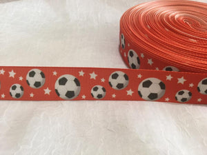 "Soccer on Red 7/8"" Ribbon"