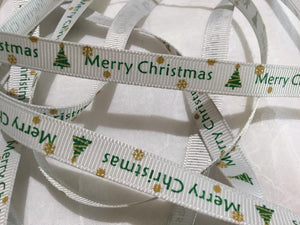 "Merry Christmas on White/Silver 3/8"" Ribbon"