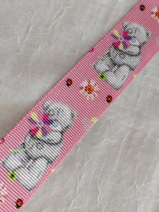 "Tatty Teddy Vertical on Pink 1"" Ribbon"