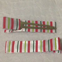 Lined Clips- Christmas Stripes (10)