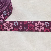 "Flowers on Purple 7/8"" Ribbon"