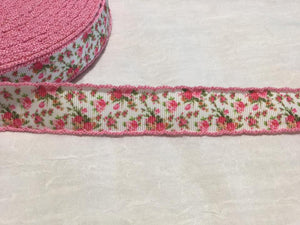"Flower Pink 7/8"" Crochet Ribbon"