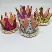 Glitter Crown with Pearl Trim