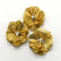 Metallic Chiffon Flower with Pearl/Rhinestone Centre 5cm