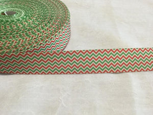 "Chevron Horizontal Christmas Trio 1"" Ribbon"